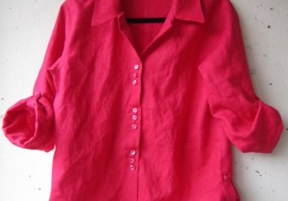 FO: A shockingly pink linen shirt