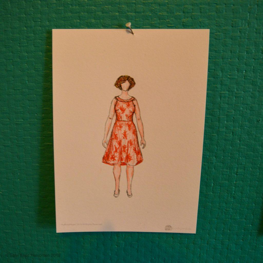Self-draftet dress, cotton+steel poolside palms fabric, delfinelise